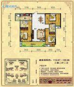 中央新城3室2厅2卫116--120平方米户型图