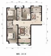金麦加汇君城3室2厅2卫124平方米户型图