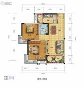 锦汇城2室2厅1卫76平方米户型图