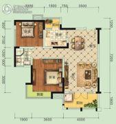 宏信・公园里3期2室2厅1卫90平方米户型图