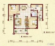 中南明珠2室2厅1卫77平方米户型图