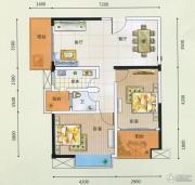 领秀一方2室2厅1卫85平方米户型图