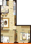 协鑫鑫尚2室1厅1卫78平方米户型图