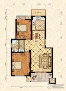 城南春天2室2厅1卫88平方米户型图