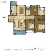 中国铁建・西派国际3室2厅2卫126平方米户型图