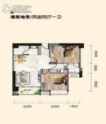 丽彩怡和润源2室2厅1卫79平方米户型图