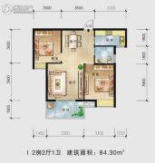 景江国际2室2厅1卫84平方米户型图