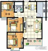 红安帝都3室2厅1卫104平方米户型图