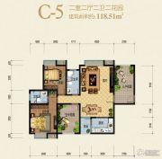 兰亭绿洲2室2厅2卫118平方米户型图