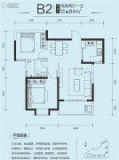 印力中心2室2厅1卫84平方米户型图