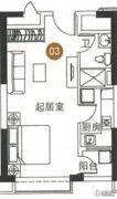 恒大御景湾1室0厅1卫49平方米户型图