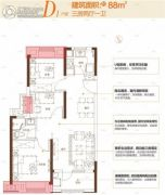 新城�Z悦城3室2厅1卫88平方米户型图