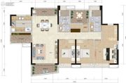 实地蔷薇国际3室2厅2卫138平方米户型图