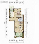 天籁谷1室2厅1卫52平方米户型图