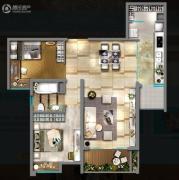 嘉汇城2室2厅1卫91平方米户型图