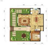 小院南山3室2厅3卫154平方米户型图