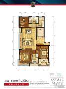 德信海德公园3室2厅2卫100平方米户型图