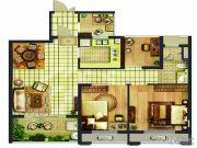 翠屏城3室2厅1卫86平方米户型图