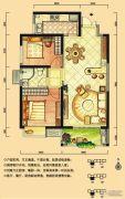 华强城2室2厅1卫87平方米户型图