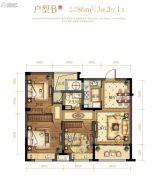 文鼎苑3室2厅1卫86平方米户型图