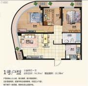 和盛时代广场3室2厅1卫96平方米户型图