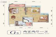 佳松琅润园2室2厅1卫81平方米户型图
