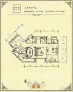 碧海一家名城3室2厅2卫105--129平方米户型图