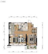 信达万科城2室2厅1卫95平方米户型图