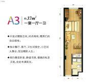 北大资源海港城1室1厅1卫37平方米户型图