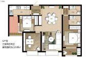 上海公馆旗舰版3室2厅2卫110平方米户型图