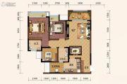 旭阳台北城敦美里3室2厅2卫75平方米户型图