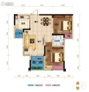 两江春城2室2厅1卫63平方米户型图