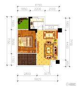 磁湖南郡1室1厅1卫45平方米户型图