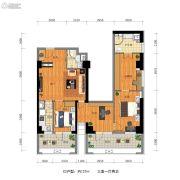 万科金地・中山公园3室1厅2卫127平方米户型图