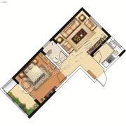 山峰财富广场1室1厅1卫56平方米户型图