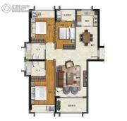 海�Z天翡3室2厅2卫128平方米户型图
