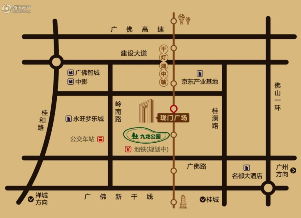 珑门广场交通区位图