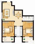 馨逸之福2室2厅1卫87平方米户型图