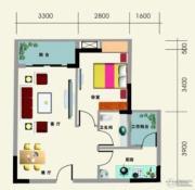南地海江南1室2厅1卫56平方米户型图
