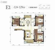 幸福湾3室2厅2卫124--129平方米户型图