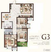 广厦曼哈顿3室2厅1卫114平方米户型图