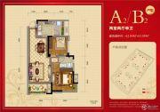 邦泰公馆2室2厅1卫62--63平方米户型图
