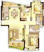 万科里享水韵3室2厅2卫124平方米户型图