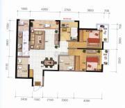 融城优郡3室2厅2卫106平方米户型图
