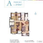 现代奥城4室2厅2卫210平方米户型图