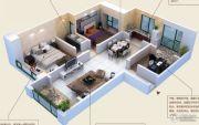 颐和山庄3室2厅1卫127平方米户型图