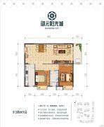 御元阳光城2室2厅1卫88平方米户型图