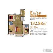 富尔沃财富广场3室2厅2卫132平方米户型图