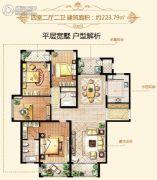 大美城4室2厅2卫223平方米户型图