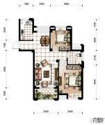 香河湾2室2厅1卫85平方米户型图